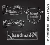 set of handmade labels drawing... | Shutterstock .eps vector #1051154201