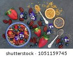 healthy breakfast super food... | Shutterstock . vector #1051159745