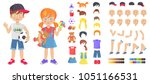 little boy and girl with toys... | Shutterstock .eps vector #1051166531