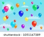 colorful balloons flying in... | Shutterstock .eps vector #1051167389
