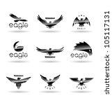 eagle silhouettes set 1.   Shutterstock .eps vector #105117131
