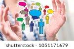 communication concept between... | Shutterstock . vector #1051171679