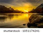 mountain lake sunset landscape | Shutterstock . vector #1051174241