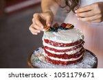 a girl making a homemade cake... | Shutterstock . vector #1051179671