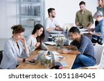 young  diverse female and male... | Shutterstock . vector #1051184045