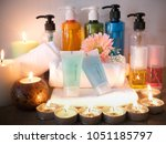 body care products set shower... | Shutterstock . vector #1051185797