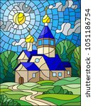illustration in stained glass... | Shutterstock .eps vector #1051186754