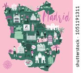 cartoon map of madrid. spain.... | Shutterstock .eps vector #1051191311