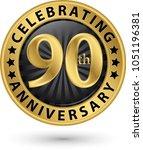 celebrating 90th anniversary... | Shutterstock .eps vector #1051196381