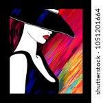 woman with hat on colorful... | Shutterstock .eps vector #1051201664