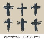 grunge hand drawn cross symbols ... | Shutterstock .eps vector #1051201991