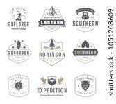 camping logos templates vector... | Shutterstock .eps vector #1051208609