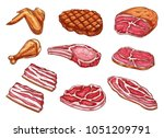 butchery meat and delicatessen... | Shutterstock .eps vector #1051209791