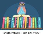 owl sitting on open book on... | Shutterstock .eps vector #1051214927