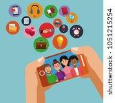 using smartphone for social... | Shutterstock .eps vector #1051215254