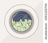 washing machine full of dollars ... | Shutterstock .eps vector #1051220744