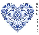 scandinavian folk heart vector... | Shutterstock .eps vector #1051221551