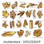 italian pasta sorts or types... | Shutterstock .eps vector #1051222619