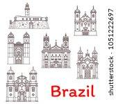 brazil architecture landmarks... | Shutterstock .eps vector #1051222697