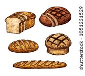 bread sketch icons for bakery... | Shutterstock .eps vector #1051231529