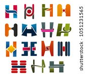 h letter icons template for... | Shutterstock .eps vector #1051231565