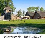 biskupin  kuyavian pomeranian... | Shutterstock . vector #1051236395
