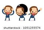 set of tiny businessman... | Shutterstock .eps vector #1051255574