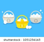 eggs in different baskets with...   Shutterstock .eps vector #1051256165