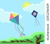 flying colorful kite in the... | Shutterstock .eps vector #1051256429