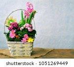 spring flowers on wooden   Shutterstock . vector #1051269449