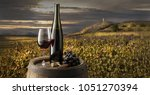 still life with red wine on... | Shutterstock . vector #1051270394