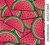 summer watermelon repeat... | Shutterstock .eps vector #1051272665