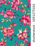 seamless hand painted floral... | Shutterstock . vector #1051275101