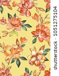 seamless hand painted floral... | Shutterstock . vector #1051275104