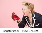 lips and shout. blonde pin up... | Shutterstock . vector #1051278725