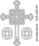 knotted celtic cross stencil... | Shutterstock .eps vector #105128141