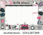 weekly planner template.... | Shutterstock .eps vector #1051287389