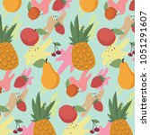 fruit vector pattern background | Shutterstock .eps vector #1051291607