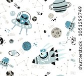 kids seamless pattern   space ... | Shutterstock .eps vector #1051293749