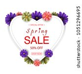 spring sale background with... | Shutterstock . vector #1051296695