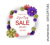 spring sale background with... | Shutterstock . vector #1051297181