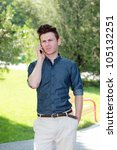 unhappy young man in park with... | Shutterstock . vector #105132251