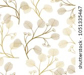 seamless pattern with leaves.... | Shutterstock .eps vector #1051335467
