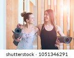 two happy sporty women friends... | Shutterstock . vector #1051346291