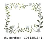 real flower and ivy frame... | Shutterstock . vector #1051351841