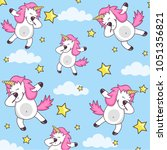 Stock vector vector pattern with cute unicorns clouds and stars magic background with little dabbing unicorns 1051356821