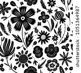 linocut style hand drawn meadow ... | Shutterstock .eps vector #1051364987