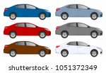 set of different color car ... | Shutterstock .eps vector #1051372349