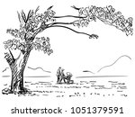 vector sketch of family with... | Shutterstock .eps vector #1051379591