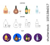 tequila  cognac  beer  vodka... | Shutterstock .eps vector #1051386017